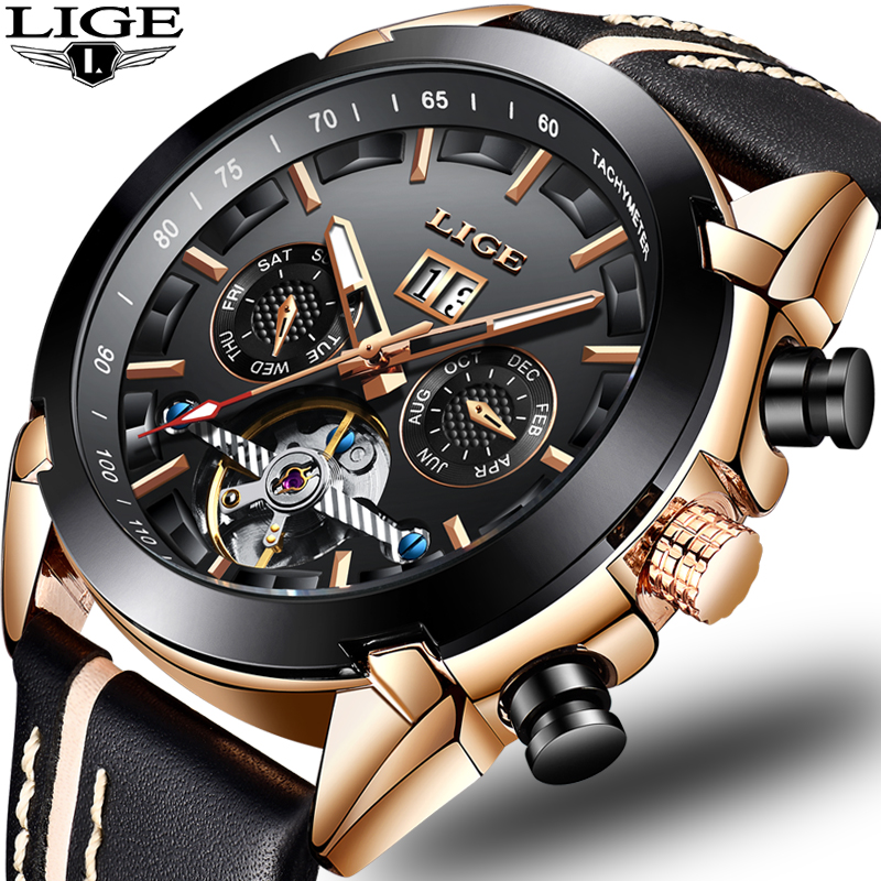 2019 New Men Mechanical Watch LIGE Automatic Mechanical Watch Men Military Leather Waterproof Sport Clock Relogio Masculino+Box