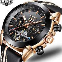 2019 New Men Mechanical Watch LIGE Automatic Mechanical Watch Men Military Leather Waterproof Sport Clock Relogio Masculino+Box