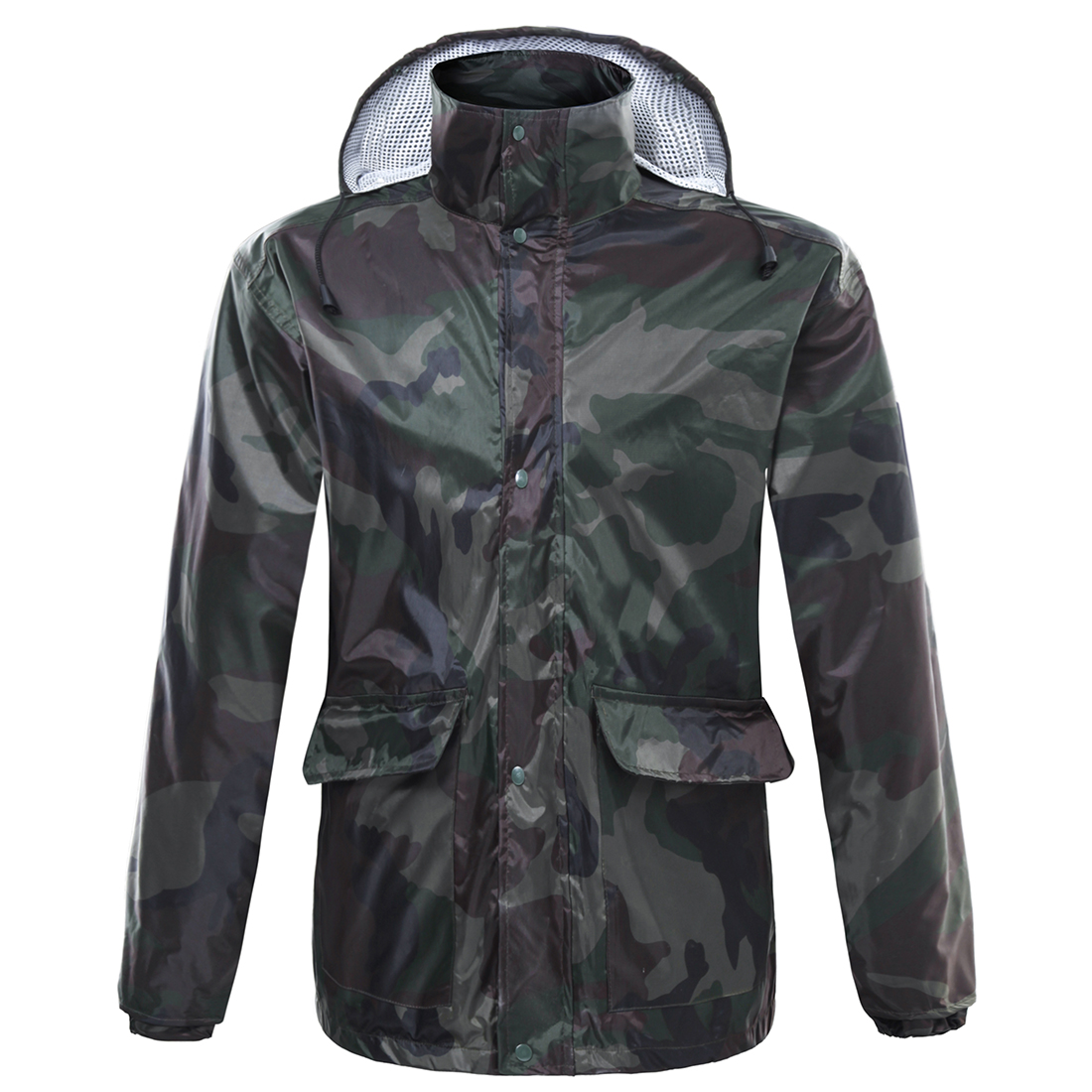 iguardor Camouflage Riding Raincoat Suit Outdoor Cycling Breathable Rainwear - Army Green XL