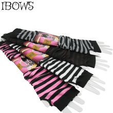 цена на Fashion Women Lady Striped Elbow Gloves Warmer Knitted Long Fingerless Gloves Elbow Mittens Christmas Accessories Gift