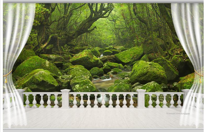 Customized 3d Wallpaper For Walls 3 D Wall Murals Wallpaper 3 D TV Setting Wall Balcony Landscape Forest Streams 3d Home Decor