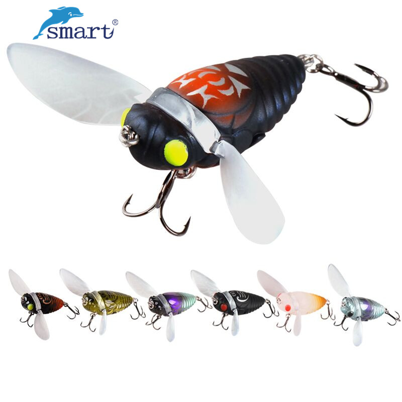 Smart 40mm/6.1g Cicada Shape Fishing Lure 7Colors Isca Artificial Hard Bait Perch Insect Lures Topwater Ocean Fly Fishing Tackle стоимость