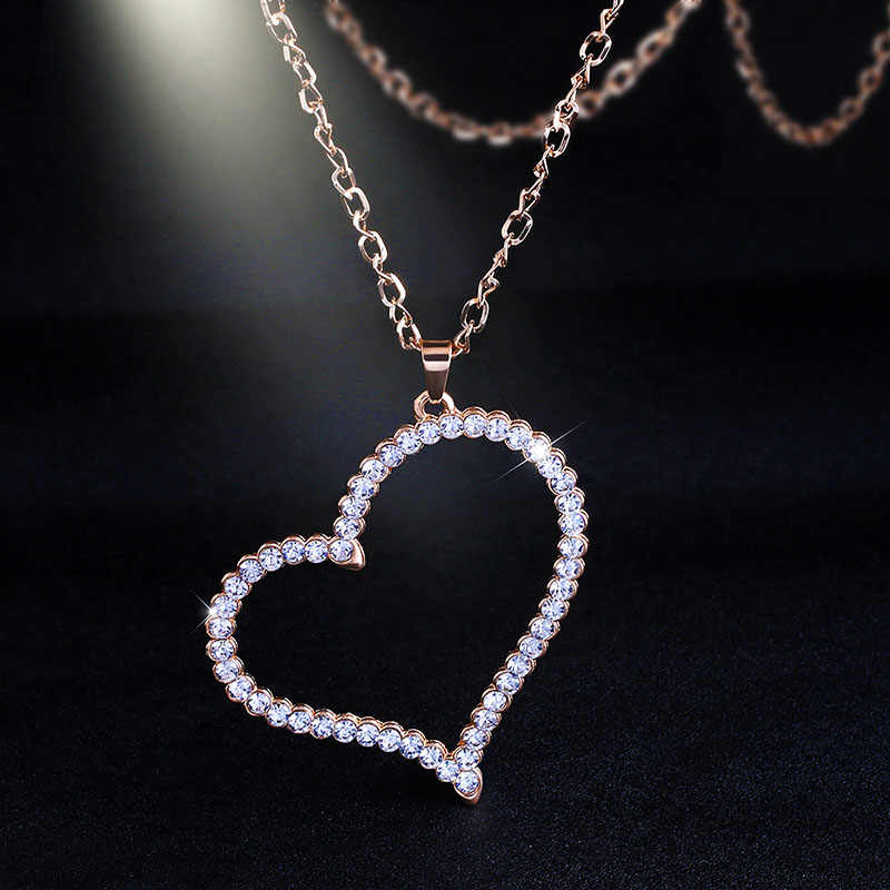 Gold Crystal Heart Pendant Necklaces Long Gold Necklace Chain Big Long Sweater Necklace for Women Jewelry Gifts nken17