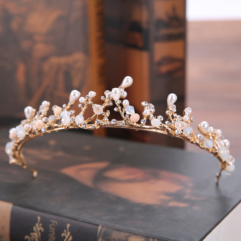 Handmade Vintage Gold Bride Tiaras Pearl Rhinestones Wedding Princess Crowns Bride Hair Jewelry Wedding Accessories cele goldsmith lalli modern bride® wedding celebrations