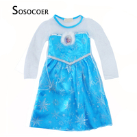 SOSOCOER Elsa Dress Girls Costumes Cartoon Girl Party Dresses Clothes High Quality Cosplay Kids Princess Dress