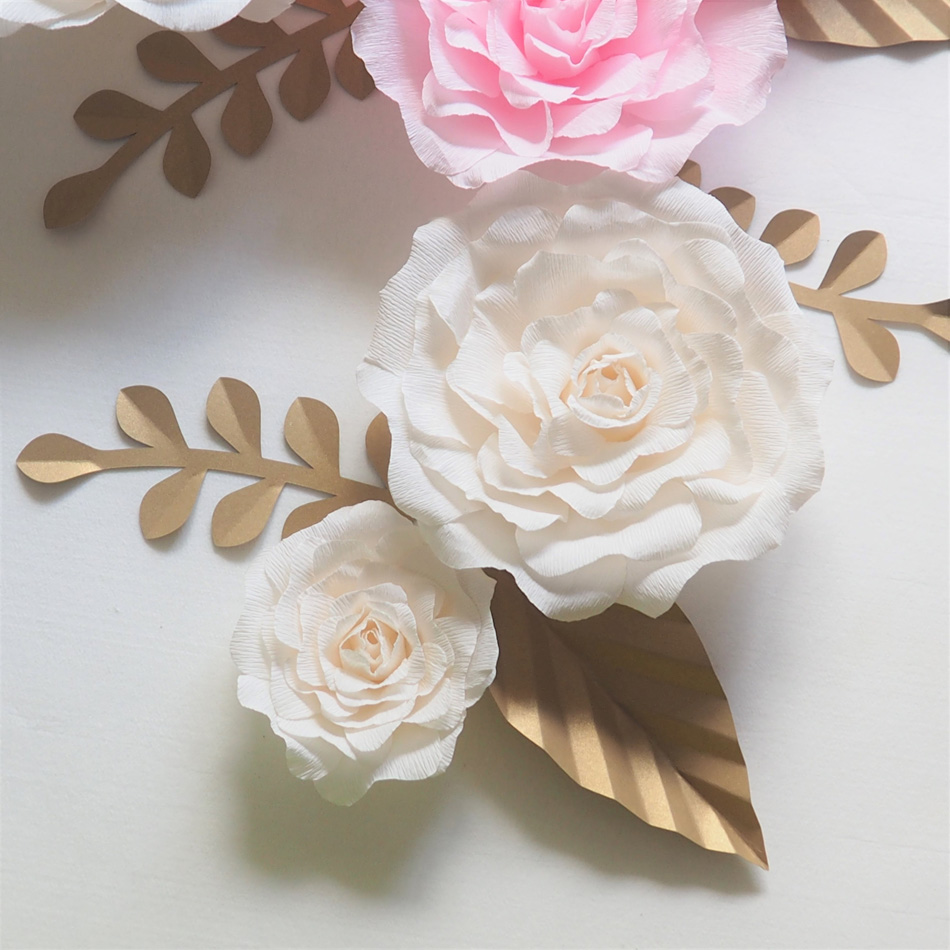 Giant paper flowers backdrop artificial handmade crepe paper rose giant paper flowers backdrop artificial handmade crepe paper rose 5pcsgold leaves 6pcs for wedding party deco home decoration in party diy decorations mightylinksfo