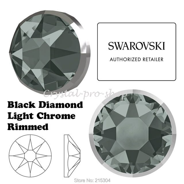 3b2b6227183 New 2019-20 Swarovski Elements Rimmed 2088/I Black Diamond Light Chrome (  No Hotfix ) Crystal Flat back Rhinestone