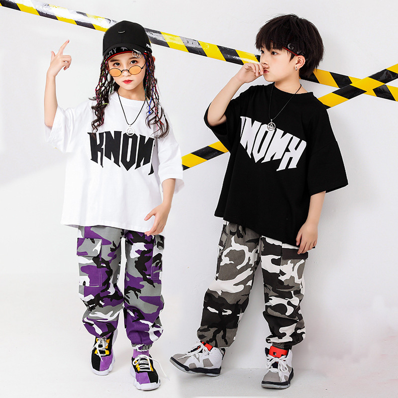 Kid Hip Hop Clothing Oversized T Shirt Camouflage Running Casual Pants For Girls Boy Dance Costume Wear Ballroom Dancing Clothes