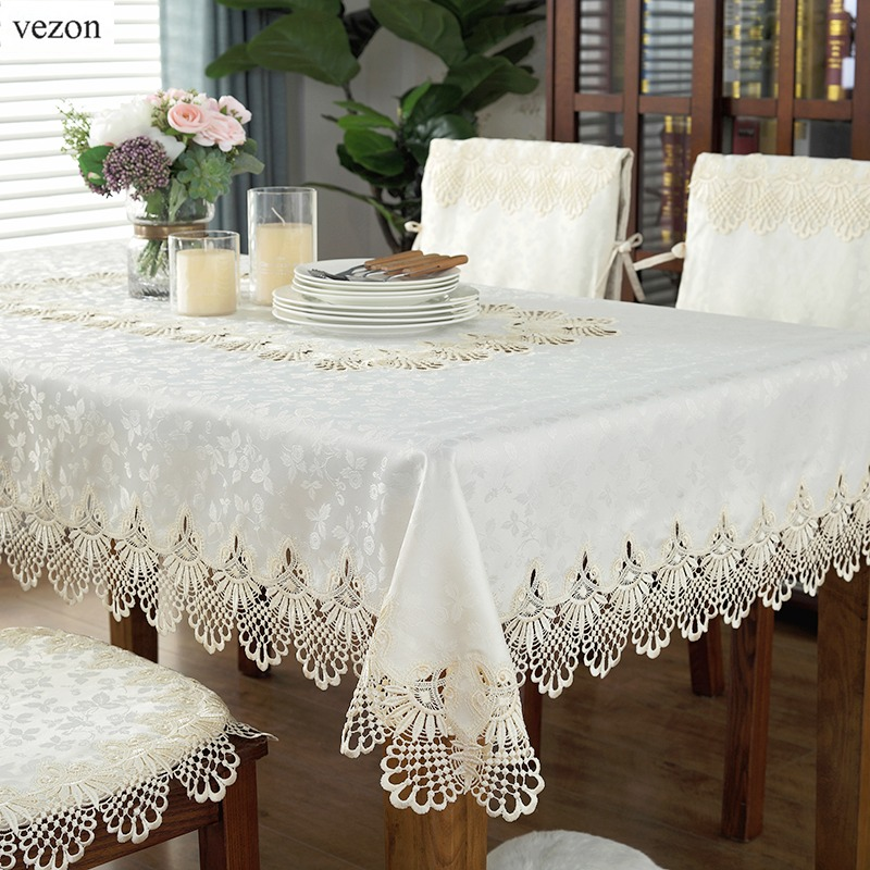 vezon Hot Sale Elegant Lace Tablecloth For Wedding Party Home Daily Lace Satin Table Linen Cloth Cover Textile Decoration Towel