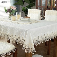 Hot Sale Elegant Polyester Lace Tablecloth For Wedding Party Home Daily Satin Table Linen Cloth Cover Textile Decor 1033