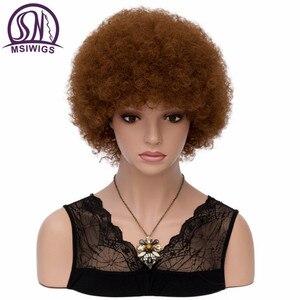 Image 3 - Msiwigs Vrouwen Korte Kinkly Krullend Afro Pruiken Donkerbruin Synthetisch Haar Pruik Amerika Afrikaanse Cosplay Pruiken