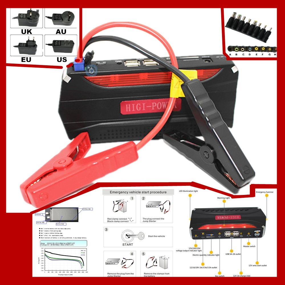Car charger pack vehicle jump starter multi function auto start emergency power supply for petrol and diesel 12v booster