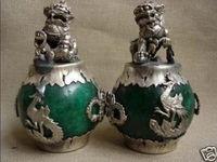COPPIA CINESE DEL Tibet ARGENTO DRAGO di GIADA Foo dog STATUA GRHT474 strumenti di Decorazione di cerimonia nuziale In Ottone