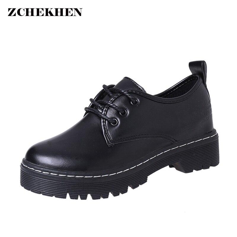 Для женщин Весна на плоской платформе полусапожки из искусственной кожи черного цвета мотоботы Кружево на шнуровке ботинки на толстой подо...