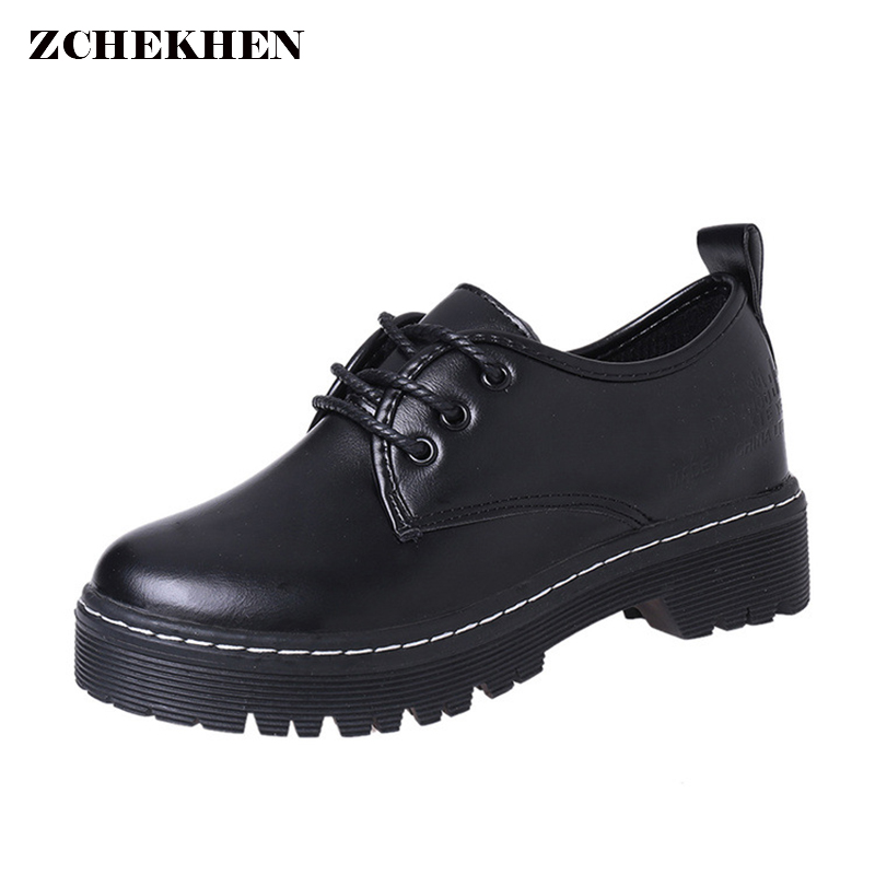 Women Spring Flat Platform Short Boots Black Pu Motorcycle Boots Lace Up Thick Bottom Boots Ladies Martin Boots jakob mändmets talupoeg