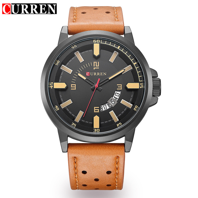 2017 Men's Fashion Quartz Watch Curren Mens Watches Top Brand Luxury Leather Strap Waterproof Sport Wristwatch Man Clock Relogio 2017 new top fashion time limited relogio masculino mans watches sale sport watch blacl waterproof case quartz man wristwatches