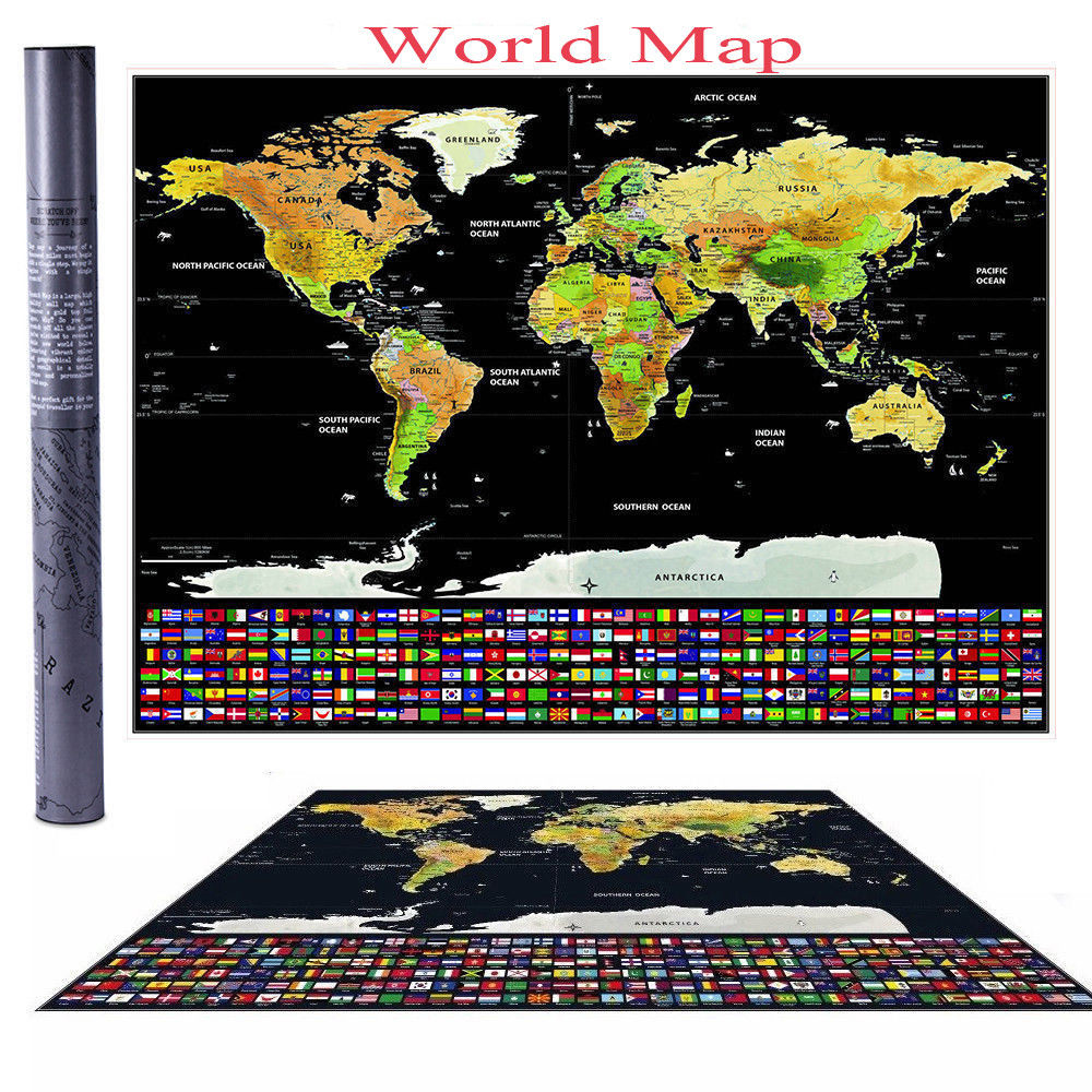 Scratch Off Map World Extra Large Size Wall Art US States Country Flag 32/'/'x23/'/""