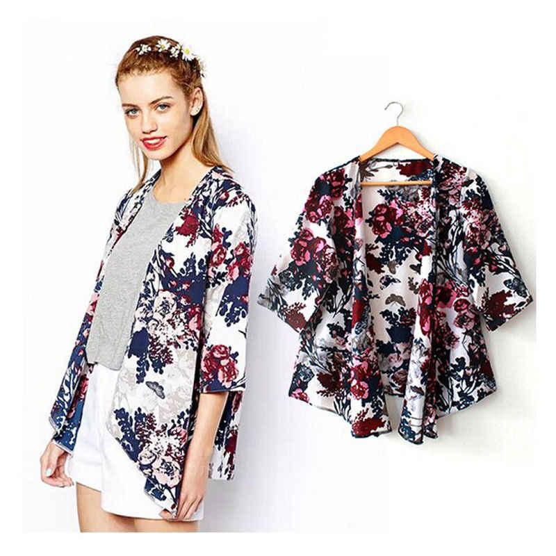 7e4bf3d000 Summer Women Fashion Beachwear Tunic Kimono-style Cover Up Female Sexy  Floral Chiffon Beach Cardigan