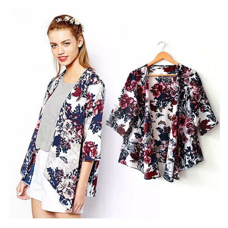 2d8803e84ef8a Detail Feedback Questions about Summer Women Fashion Beachwear Tunic Kimono  style Cover Up Female Sexy Floral Chiffon Beach Cardigan Bikini Swimsuit  Cover ...