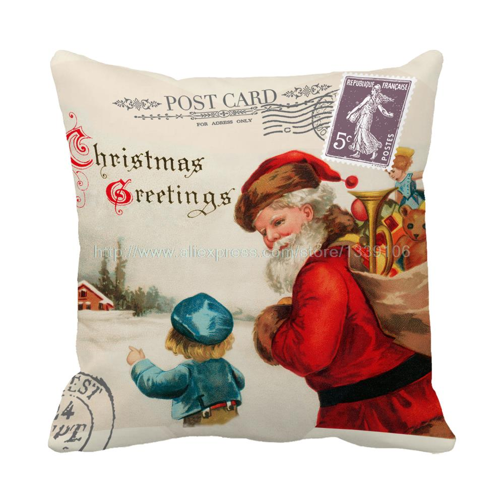 Christmas greetings Santa carry the toys print luxury chair bed cushions home decor almofada kids sofa throw decorative pillows