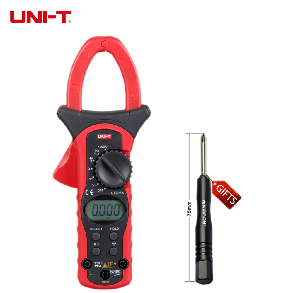 LCD Backlight UNI-T UT205A Auto Range 1000A Digital Clamp Meters w/ Frequency Duty Cycle Test Multimeter Ammeter Multitester
