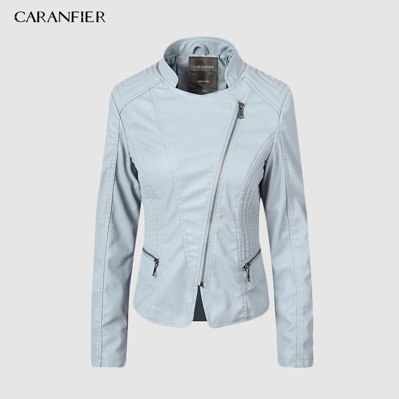CARANFIER Women's Leather Jacket Motorcycle Autumn Long Sleeve Zipper Faux Leather Jackets 6 Color Ladies Female Coats Outerwear