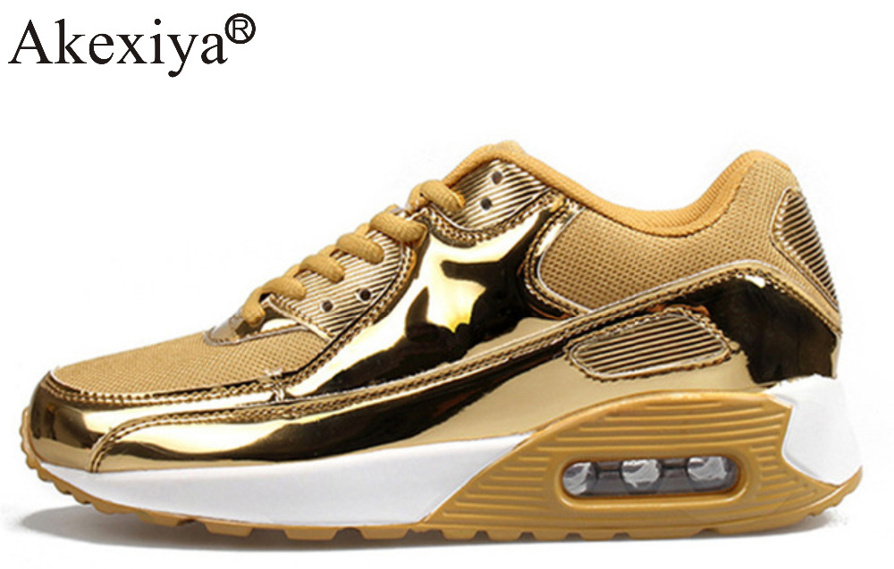 Akexiya Men Running Shoes Glossy Gold Comfortable Cushion Sneakers Men Outdoor Athletic Anti-slip Durable Sport Shoes