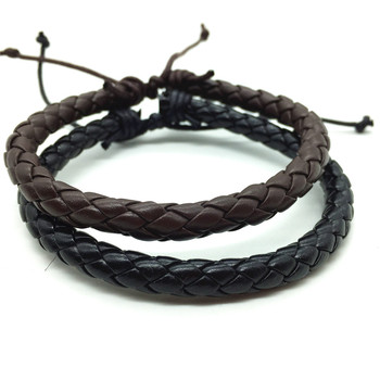 New Arrival Casual Vintage Punk Brown Black Handmade Weave Rope Men PU Leather Bracelets For Women Homme Men Jewelry Accessories