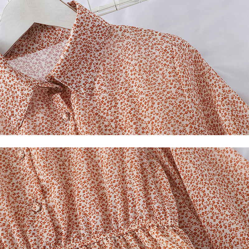 HELIAR 2019 Spring Women Dress Elegant Evening Party Elastic A-Line Chiffon Dress Lady Floral Print Pleat Casual Dresses 5
