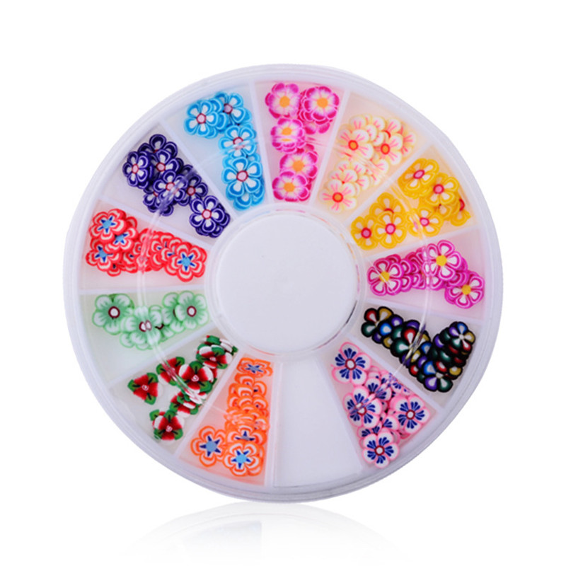 DIY nail art decorations Wheel 12 mix colours petal Ruantao Nail Glitter Nail Rhinestones Wheel Nail Tools