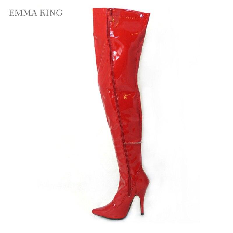 Côté 43 Roi Bout Mariage Pointu Genou Mince 35 Bottes Talons Mode Emma Femmes As Pic Le Automne Hauts Taille Chaussures De Éclair Fermeture Sur Rouge Parti XddgPq