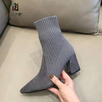 Prova Perfetto women pointed toe chunky high heel ankle boots 2018 winter new chic shoes suede patchwork knit elastic sock boots