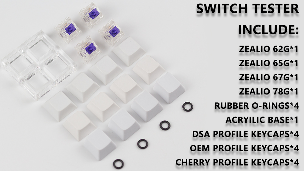 R5 Purple Zealio Switches (Tactile) switch tester 62g 65g 67g 78g with oem dsa cherry profile keycap for mechaniacl keyboard