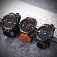Cagarny Watches Men Luxury Brand Mens Watch Dual Time Zones Military Men's Watches Leather Watchband Fashion Quartz Wristwatch