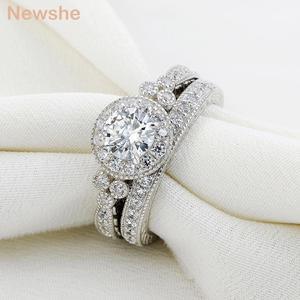 Image 5 - Newshe Conjuntos de anillos de boda de corte redondo AAA CZ para mujer, de plata de ley 1,2, banda de compromiso, joyería clásica para mujer JR4968