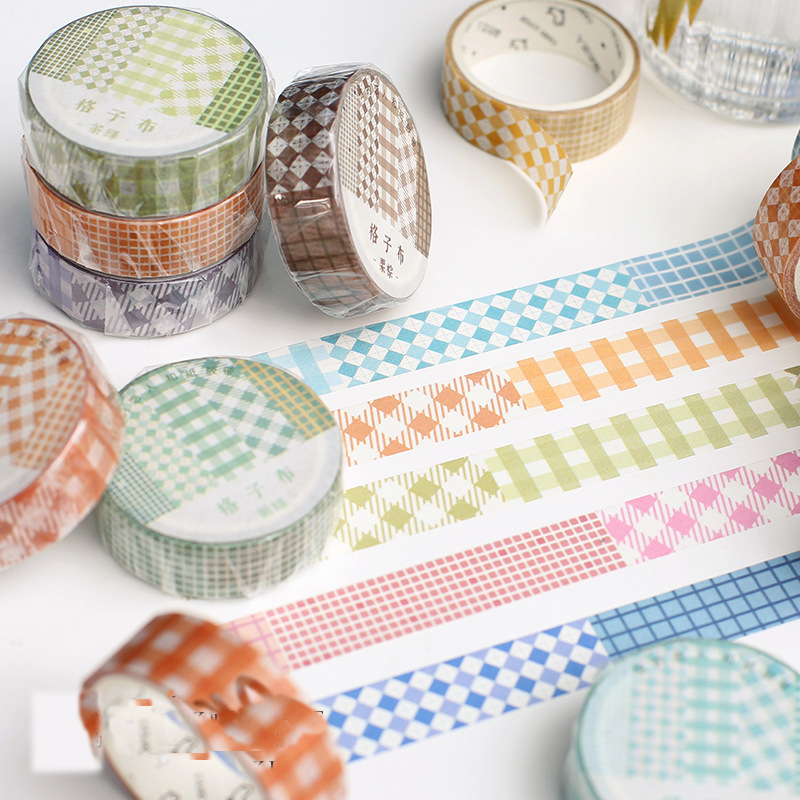 Mohamm Kawaii Plaid Cloth Series Color Washi Masking Tape Release Paper Stickers Scrapbooking Stationery Decorative Tape
