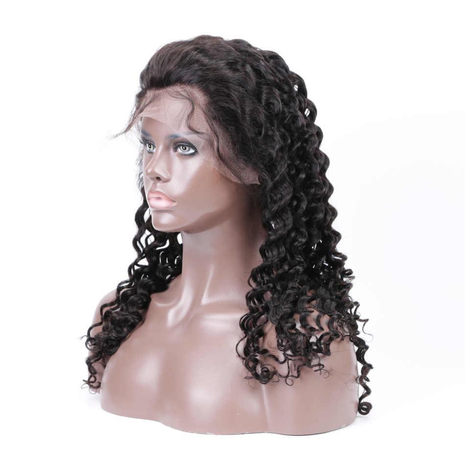 Pelucas frontales de encaje sin pegamento de pelo humano para mujeres negras pelo Natural malasio rizado completo de encaje 360 peluca Frontal con pelo de bebé