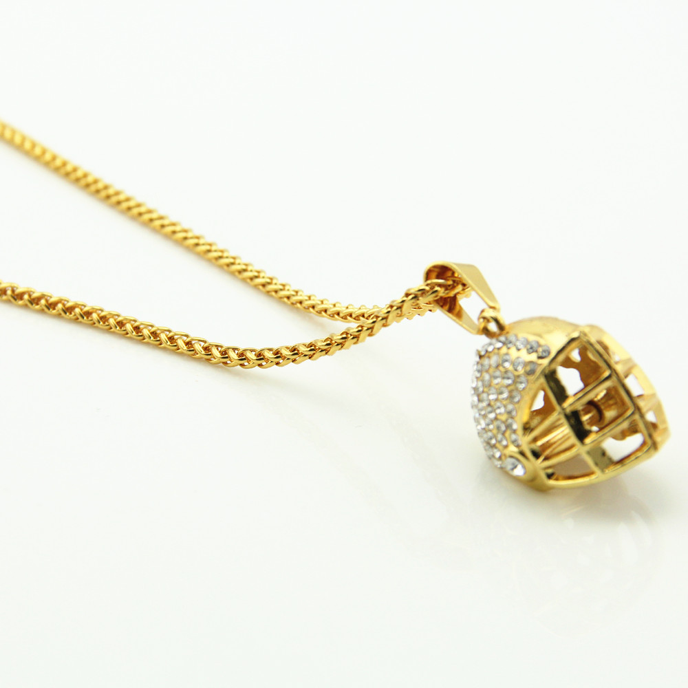 Bling Hiphop American Football Helmet Pendants with Stainless Steel chain Necklace For Men Jewelry Dropshipping