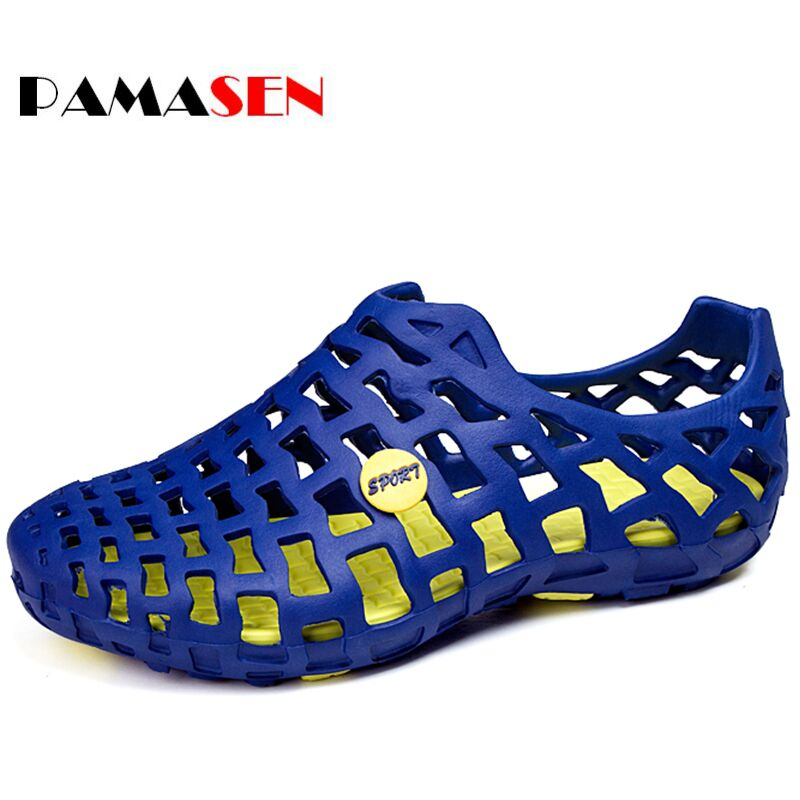 PAMASEN Men Sandals 2017 Summer Beach Shoes Hole ventilation Breathable Casual Suandals Men Fashion Slip on Summer Shoes branded men s penny loafes casual men s full grain leather emboss crocodile boat shoes slip on breathable moccasin driving shoes
