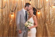 20FTx10FT Gold/Silver Shimmer Sequin Fabric Backdrp Wedding Photo Booth Photography Backdrops Background DIY Party Decoration