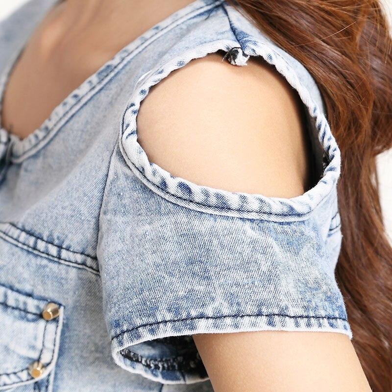 Купить комбинезон женский джинсовый с открытыми плечами пикантный облегающий
