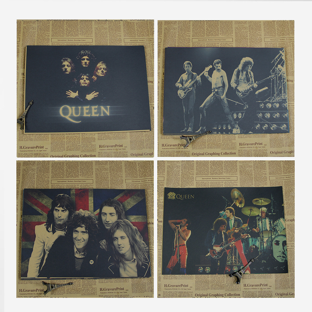US $3 6 32% OFF|Queen Rock Music Posters Prints Vintage Home Wall Stickers  Kraft Paper Cafe Bar Retro Decoration-in Wall Stickers from Home & Garden