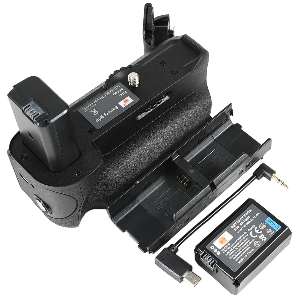DSTE Pro battery grip +np-fw50 fits for Sony A6500.Equipped with wire control vertical shooting type vertical shutter button. neewer meike battery grip for sony a6300 camera built in 2 4ghz remote control work with 1 or 2 np fw50 battery