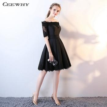 360d2098674 Ceewhy Лодка шеи по колено вечернее платье Свадебная вечеринка платье  элегантные коктейльные платья короткие платья для Для женщин Festa de  Casamento