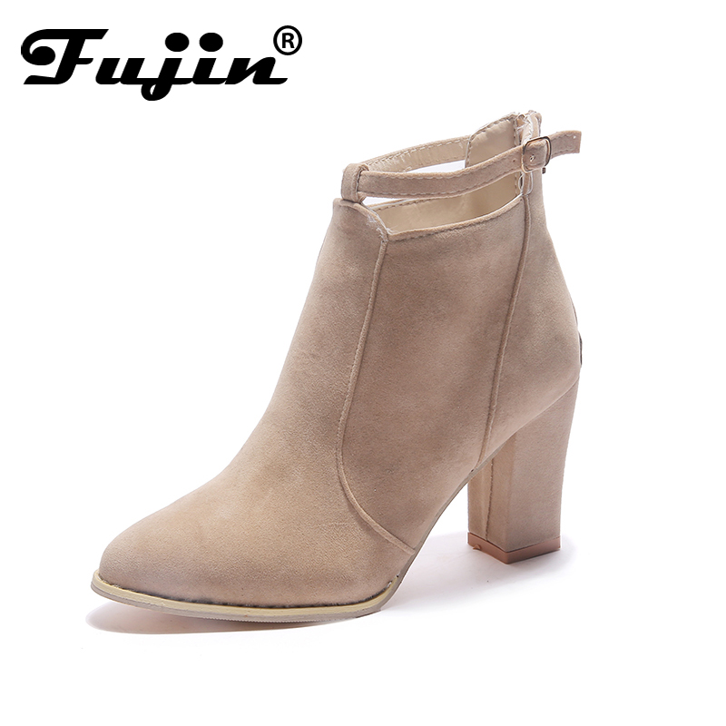 Fujin Pu Leather Women Chelsea Boots Brand Winter Warm Short Ankle Boots Plus Size Platform Single Flats Square Heel Shoes Woman