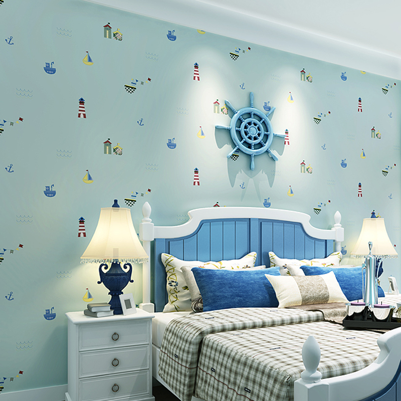 Boys And Girls Bedroom Non-woven Printed Wall Paper Mediterranean Cartoon Children Room Wall Decorative Mural Wallpaper Roll 10M mediterranean style wallpaper environmental health non woven cartoon sailing children room boy girl bedroom wall paper