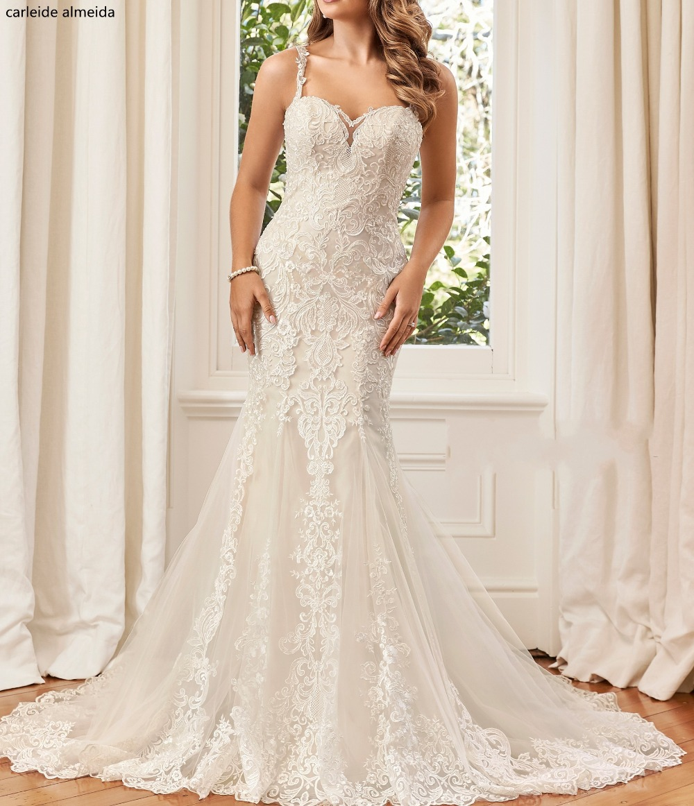 Robe de mariee Unique dentelle Appliques sirène Robe de mariée 2018 voir à travers le dos Robe de mariée de luxe Abiti da sposa