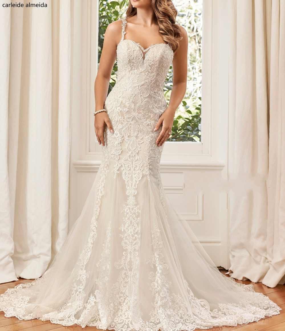 Robe de mariee Único Lace Apliques Sereia Do Vestido de Casamento 2018 Ver Através Voltar vestido de Noiva abiti da sposa Vestido de Luxo