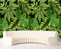Beibehang Modern Cubic Papel De Parede Wall Paper Southeast Asian Style Green Palm Tree Leaf Art