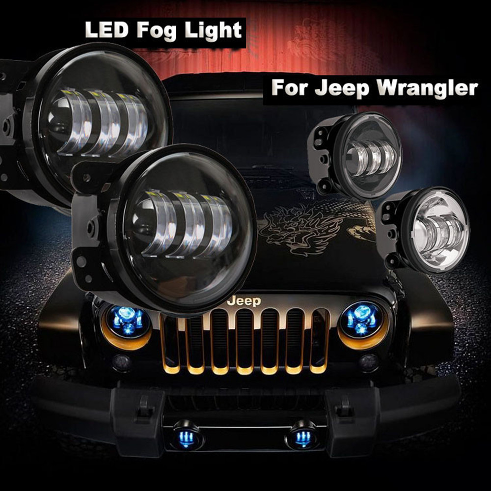 2X 4 Led Fog Lights For Jeep Wrangler JK Led Fog Lamps Projector Headlight For Jeep Wrangler Dodge Chrysler Front Bumper Lights for opel astra h gtc 2005 15 h11 wiring harness sockets wire connector switch 2 fog lights drl front bumper 5d lens led lamp